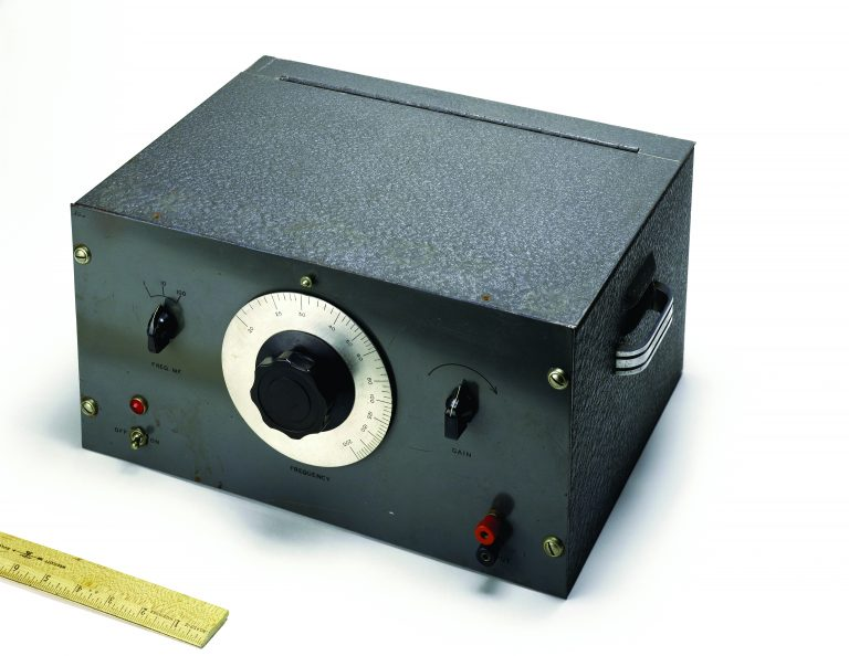The HP 200A audio oscillator prototype developed by Bill Hewlett at Stanford.