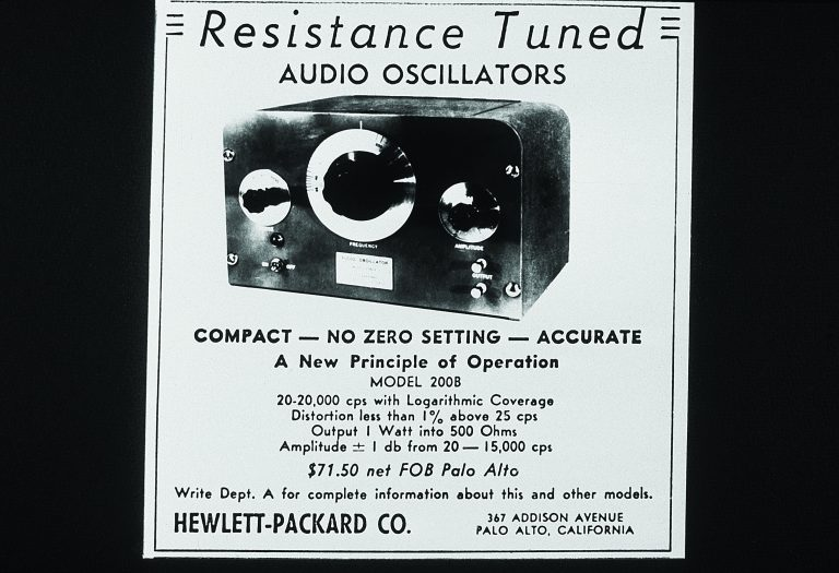 Advertisement for the HP 200B oscillator.