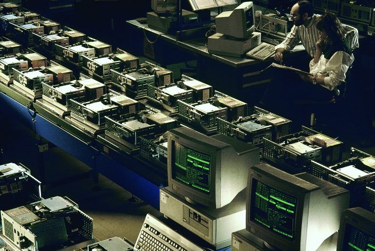 Interior shot of computers in production at Hewlett-Packard's production facility in Grenoble, France.