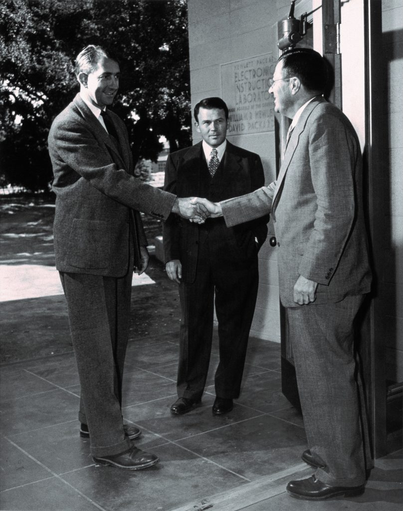 Bill Hewlett and Dave Packard greet Fred Terman, the Father of Silicon Valley, in 1952.