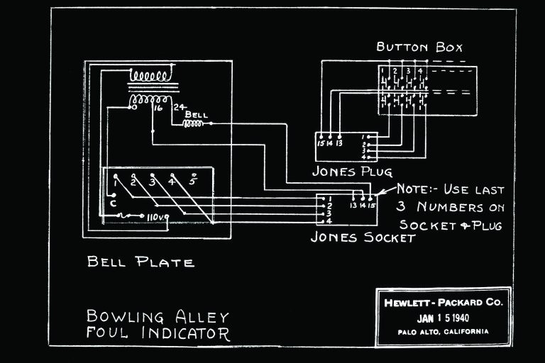 Schematic for a bowling alley foul indicator from 1940.