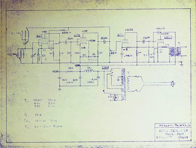 Schematic for the HP 200A audio oscillator.