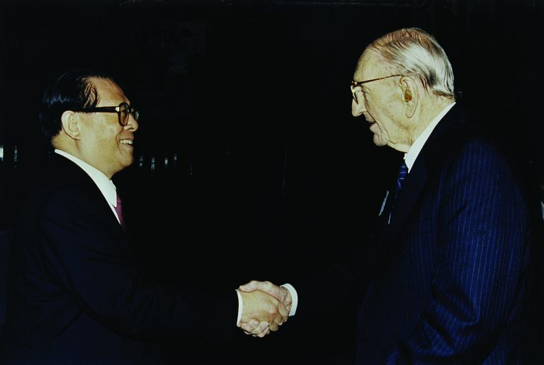 Dave Packard shaking hands with Jiang Zemin, then-president of the People's Republic of China.