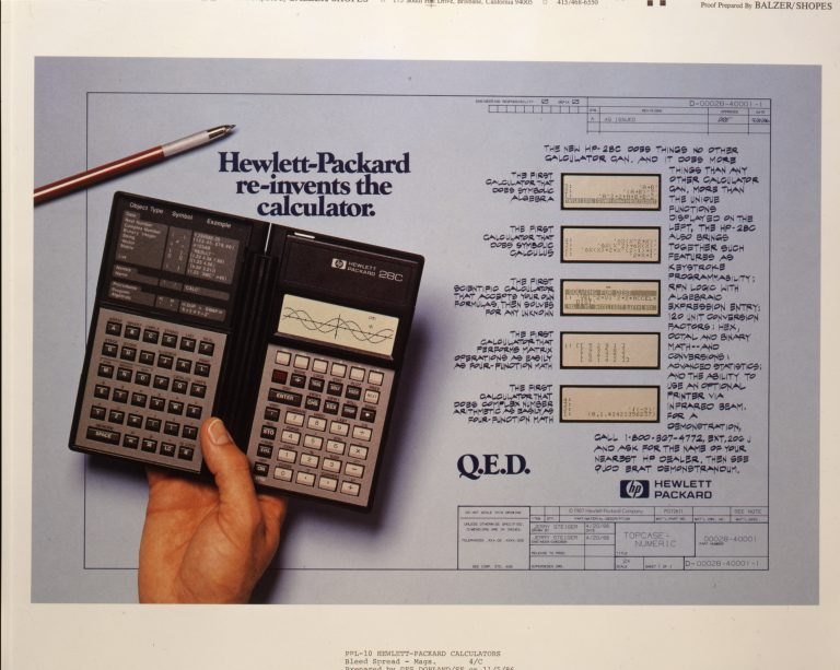 An ad for the HP 28C highlighting its innovations with the tagline Hewlett-Packard re-invents the calculator.