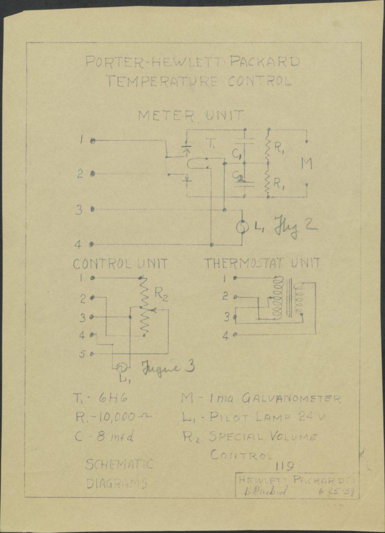 Schematic for Porter-Hewlett Packard Temperature Control.