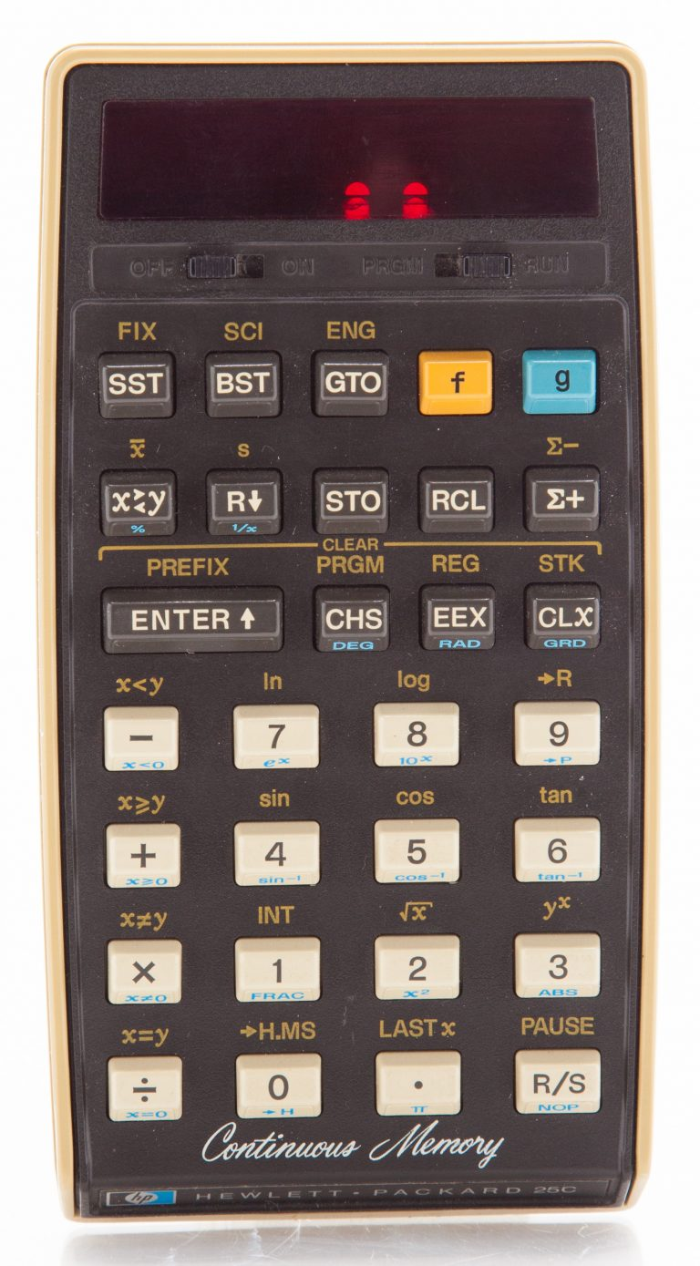 HP 25C calculator with continuous memory.
