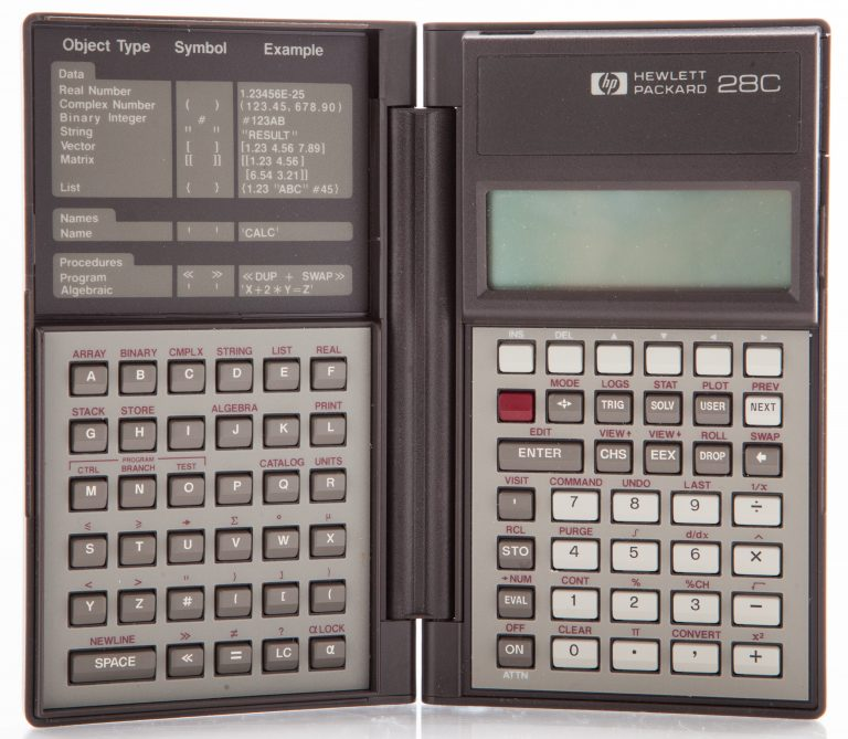 Photo of the HP 28C, Hewlett-Packard's first graphing calculator (opened).