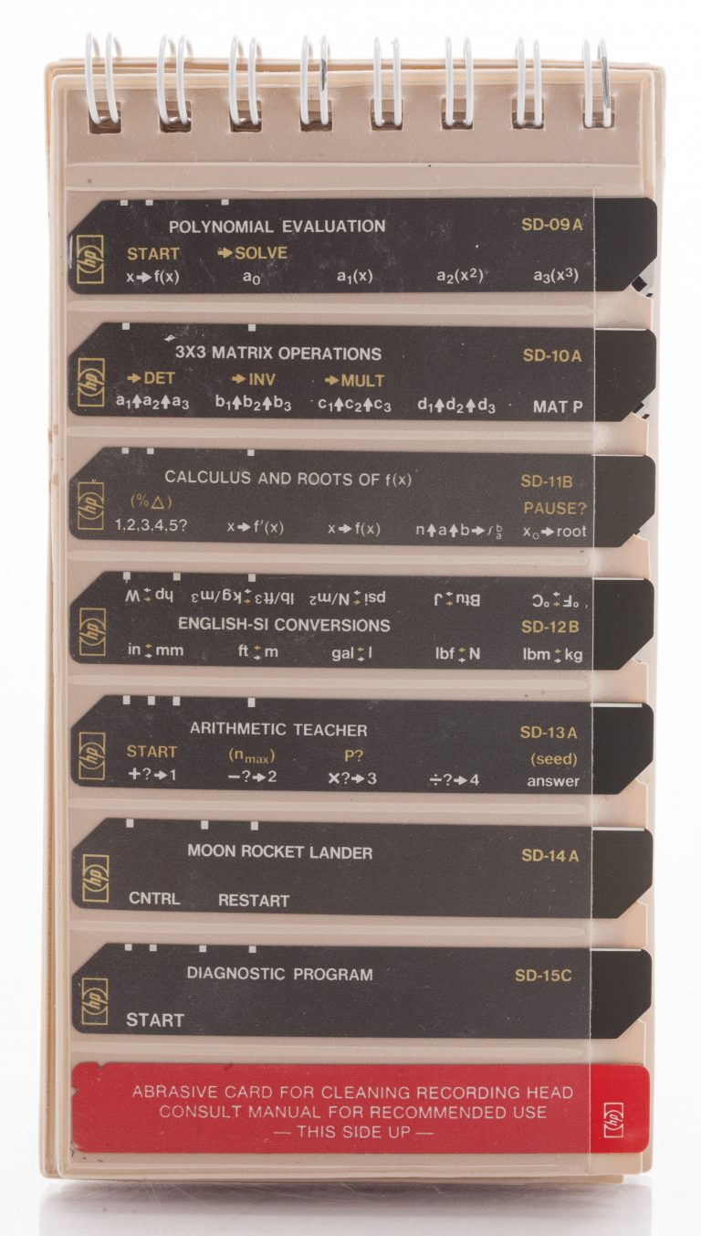 Several magnetic card inserts containing programs customers could use with HP's programmable calculators.