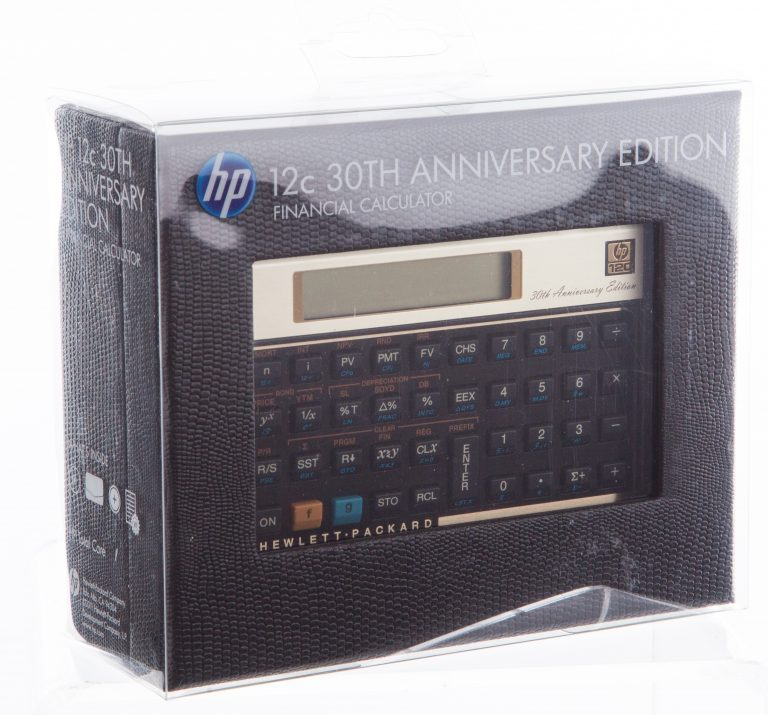 30th Anniversary Edition of the HP 12C Financial Calculator in its packaging.
