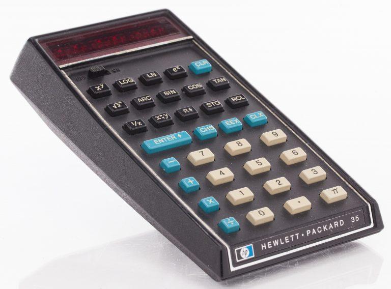 The HP 35 handheld scientific calculator.