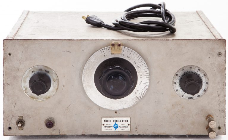Front-facing photo of the HP 200A oscillator, Hewlett-Packard's first product.