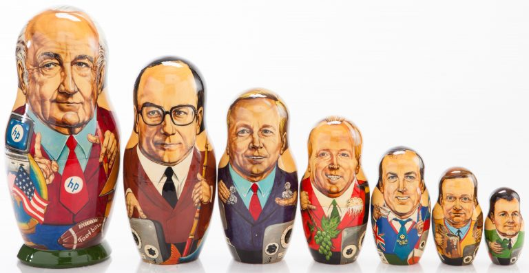 Matryoshka dolls representing HP Russia's leadership, from the Moscow office head (smallest) up to Bill and Dave (largest).