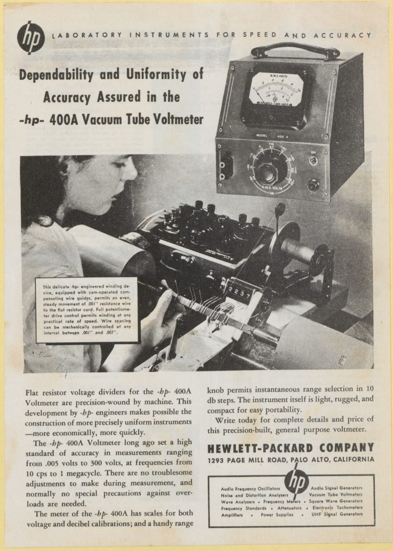 Ad for the HP 400A voltmeter from 1946.