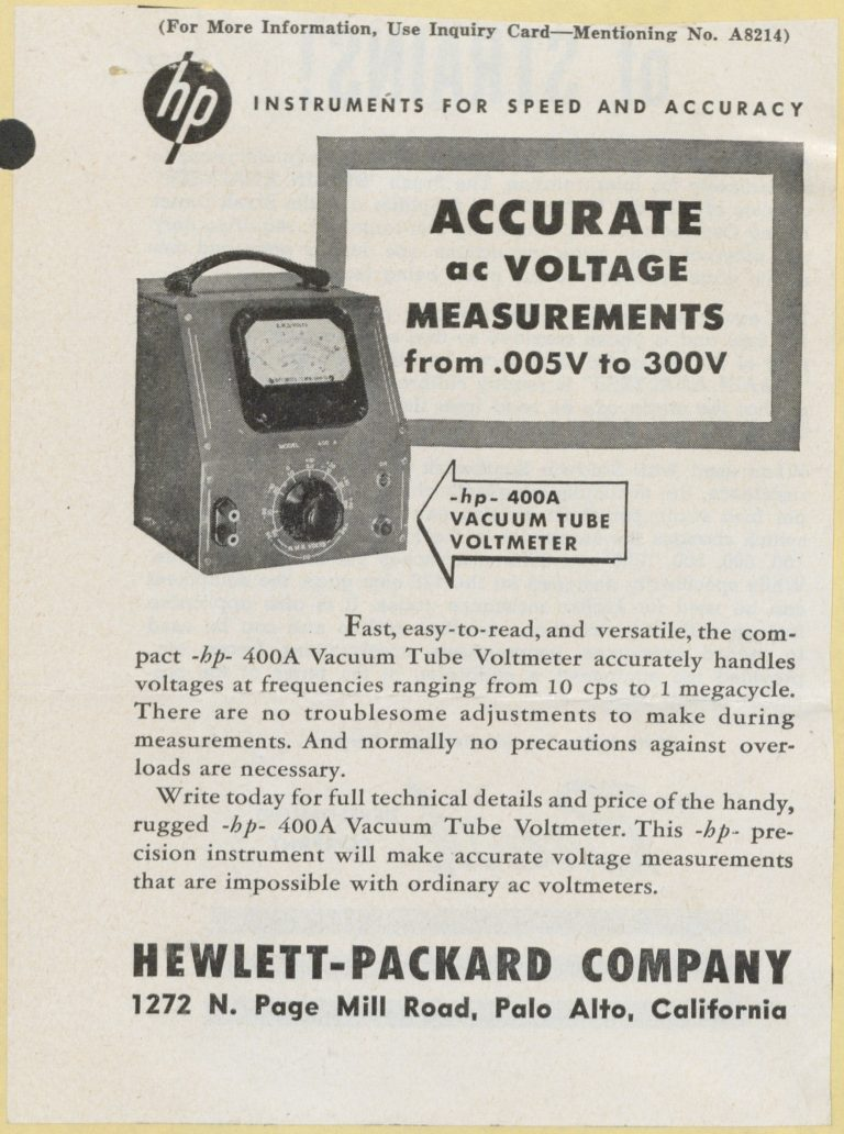 Advertisement for the HP 400AC voltmeter from 1948.