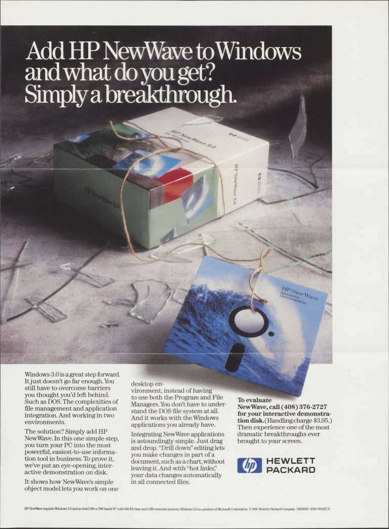 A print ad for the HP NewWave dated 1991.