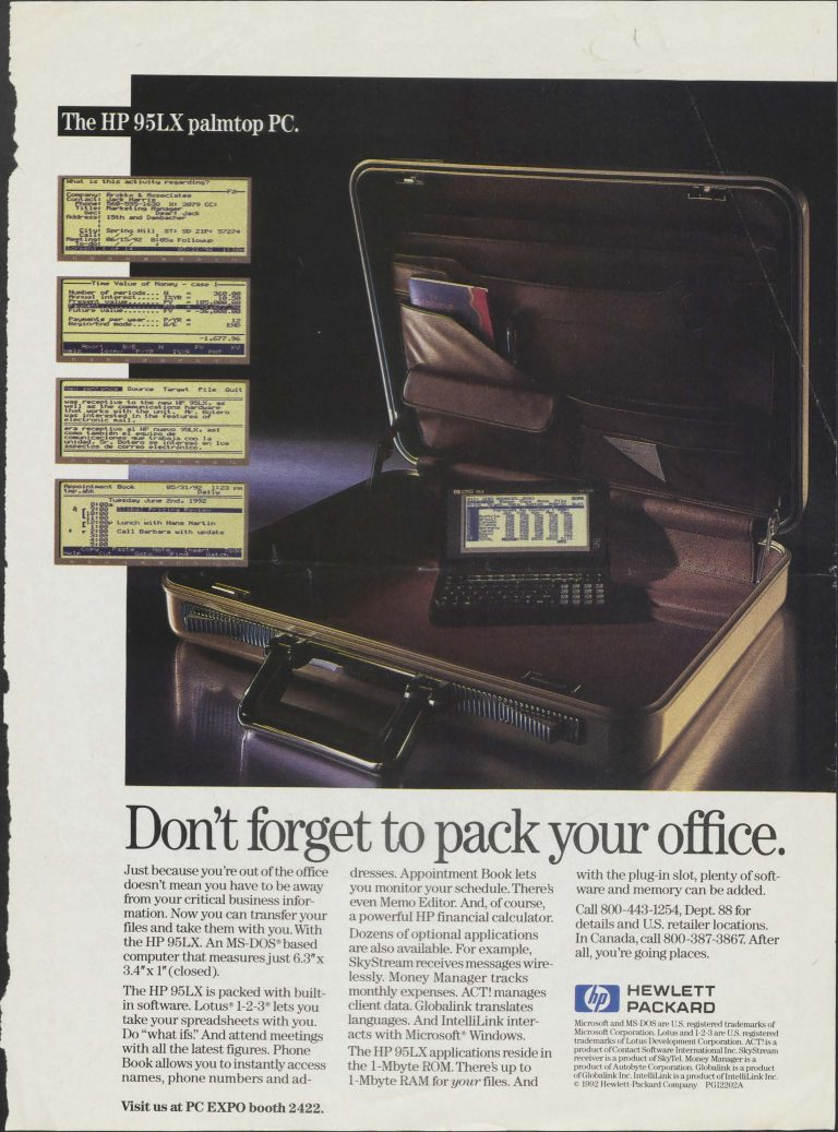 A print ad for the HP 95LX., the palmtop PC.