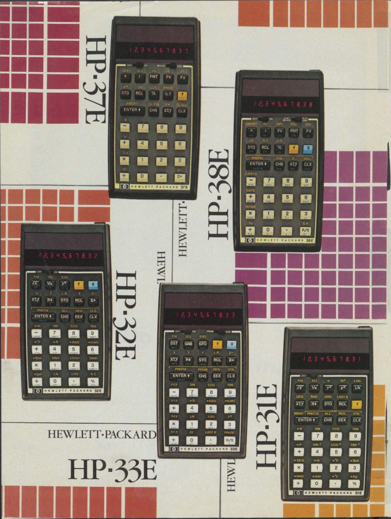 A print ad featuring HP's business (HP 37E and HP 38E) and scientific (HP 31E, HP 32E and HP 33E) calculators.