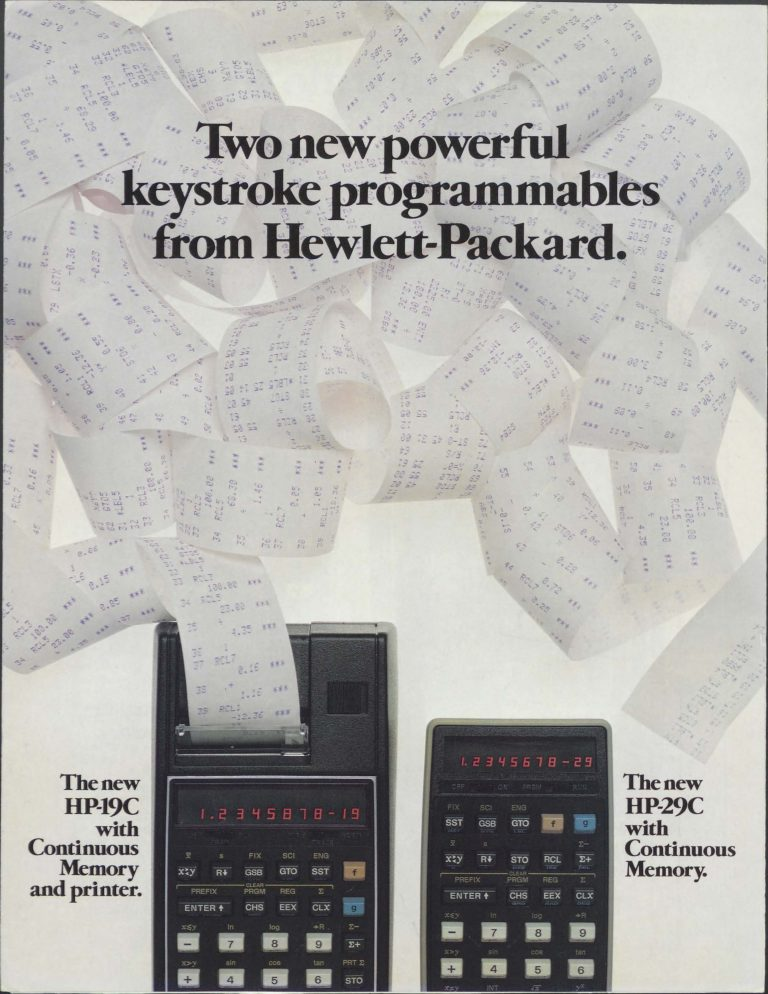 A brochure for the HP-19C and HP-29C.