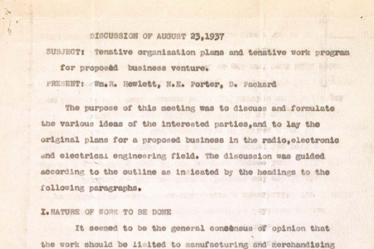 Notes from a meeting between Bill Hewlett and Dave Packard on August 23, 1937.