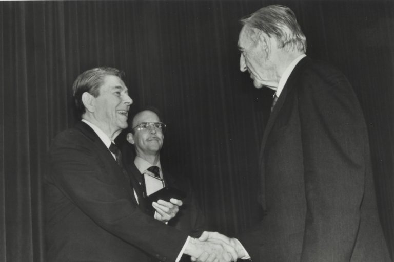 Dave Packard receives the  Medal of Freedom from President Ronald Reagan in 1988.