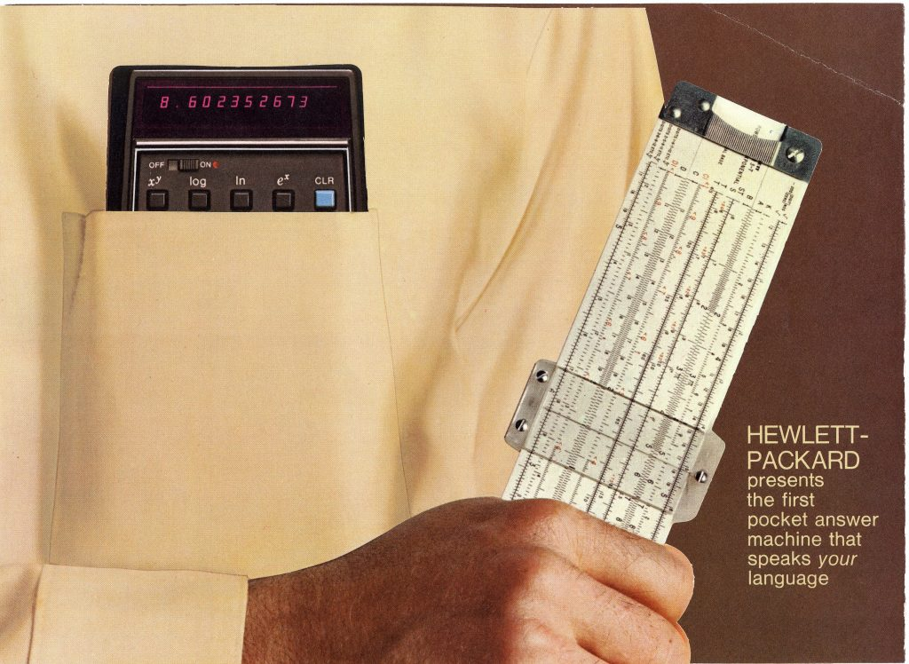 An ad for the HP 35 with the calculator in a shirt pocket while subject holds a slide rule in their hand.