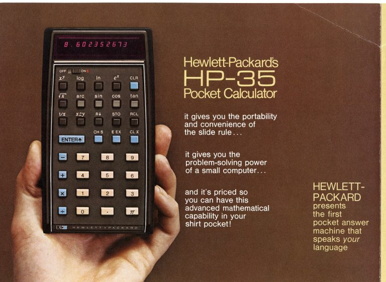 An ad for the HP 35 featuring the device held in one hand with text emphasizing its portability, power and reasonable price.