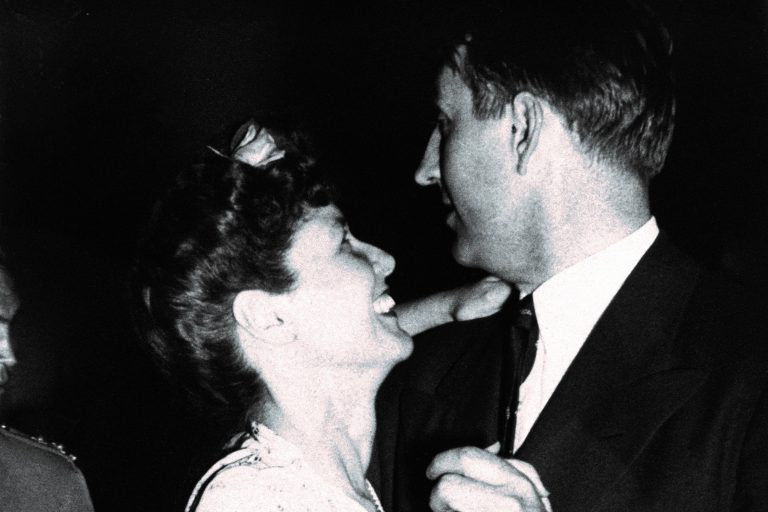 Dave and Lucile Packard dancing at a company party.