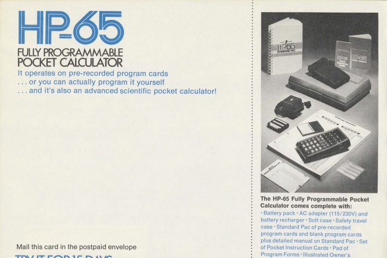A print ad for the HP-65, a fully programmable pocket calculator.