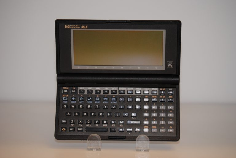 A photo of the HP95LX Palmtop PC.