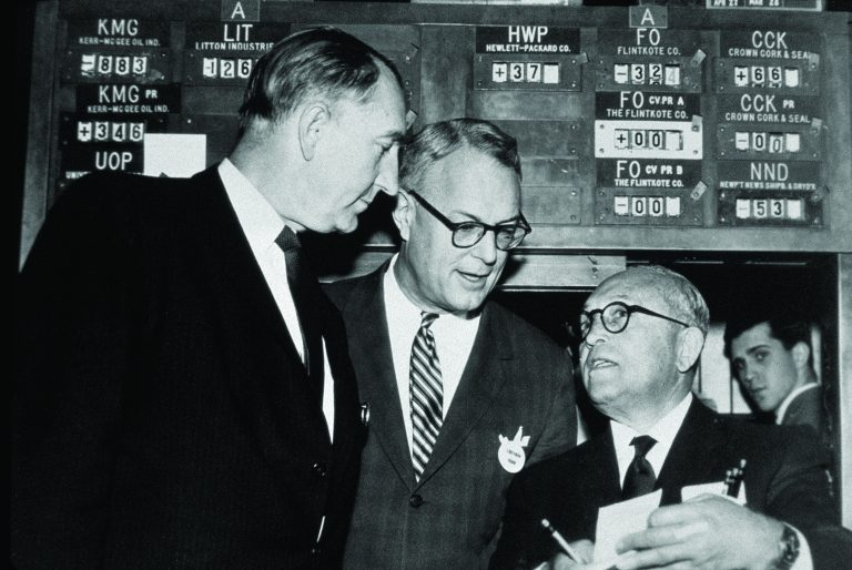 Dave Packard (left) with NYSE President G. Keith Funston (center) and Mortimer Marcus (right), a stock specialist.