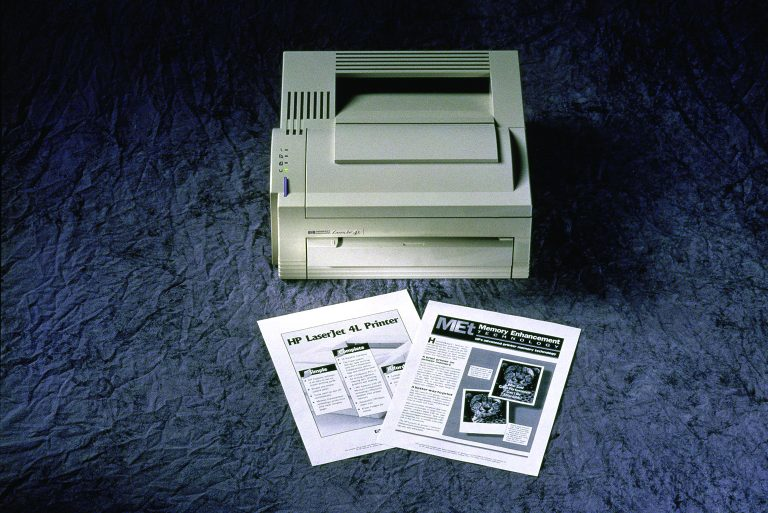 Photo of the Hewlett-Packard LaserJet 4L printer from 1993.