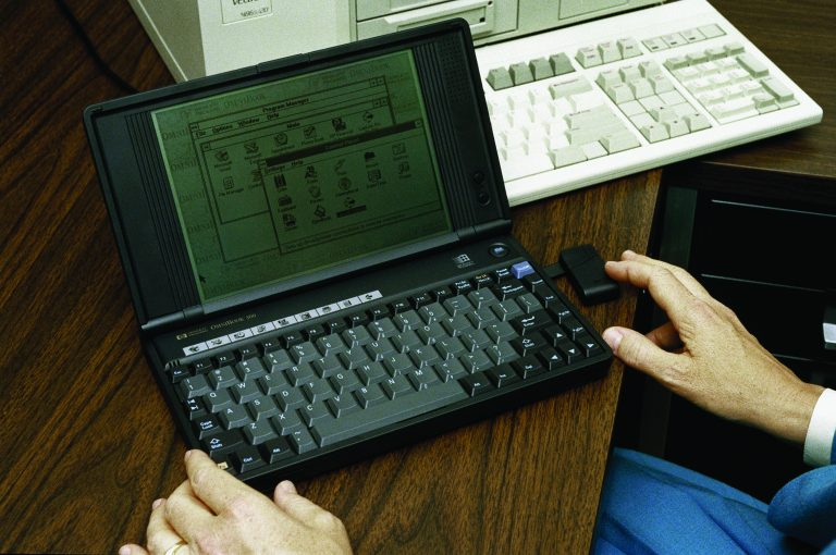 Photo of someone working on the Omnibook 300 in 1993.