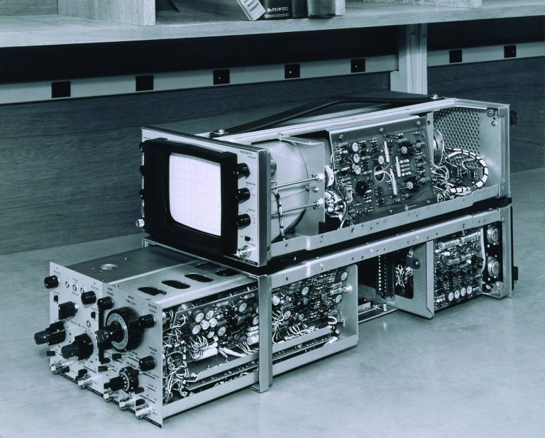 A photo of the HP 180A oscilloscope taken in 1962.