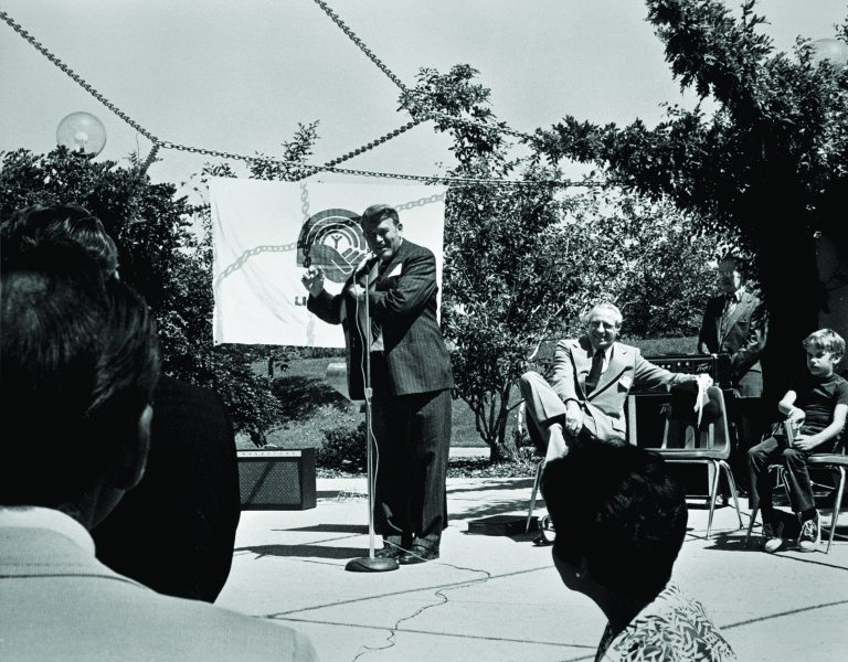 Bill Hewlett on stage at a Santa Clara County United Way fundraising event in 1975.