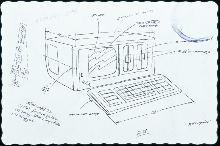 A reproduction of Ted Papajohn's drawing of the original Compaq Portable PC on a placemat from the House of Pies in 1982.