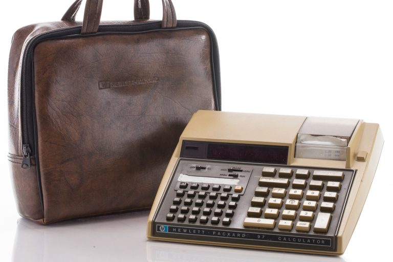 Photo of the HP 97 personal calculator.