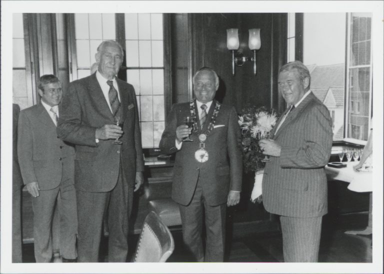 Photo of Bill Hewlett (right) and Dave Packard (left) with Boblingen's Lord Mayor (center) at the Medal of Honor ceremony.