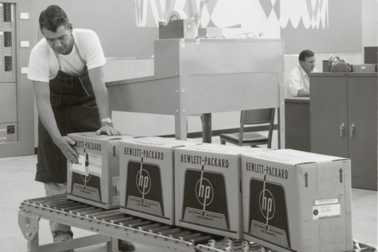 Early packaging for Hewlett-Packard featuring the company logo and the phrase Electronic Measuring Instruments.