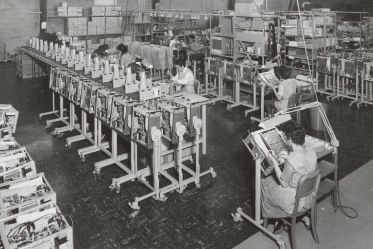 Production line for oscilloscopes at Hewlett-Packard's Colorado Springs facility in 1963.