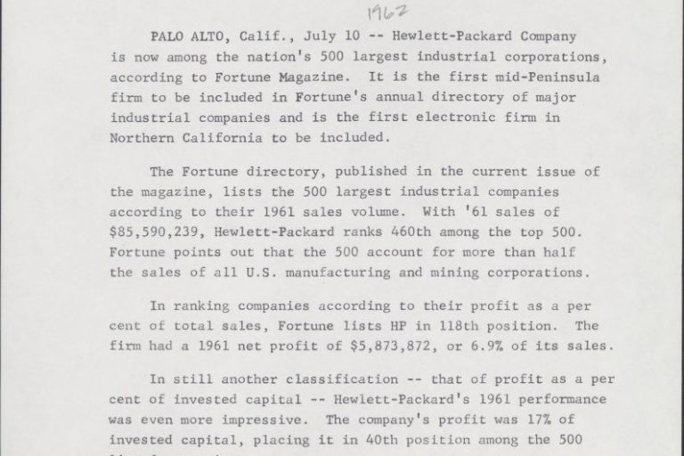 A document dated July 10, 1962, announcing HP was a Fortune 500 for the first time.