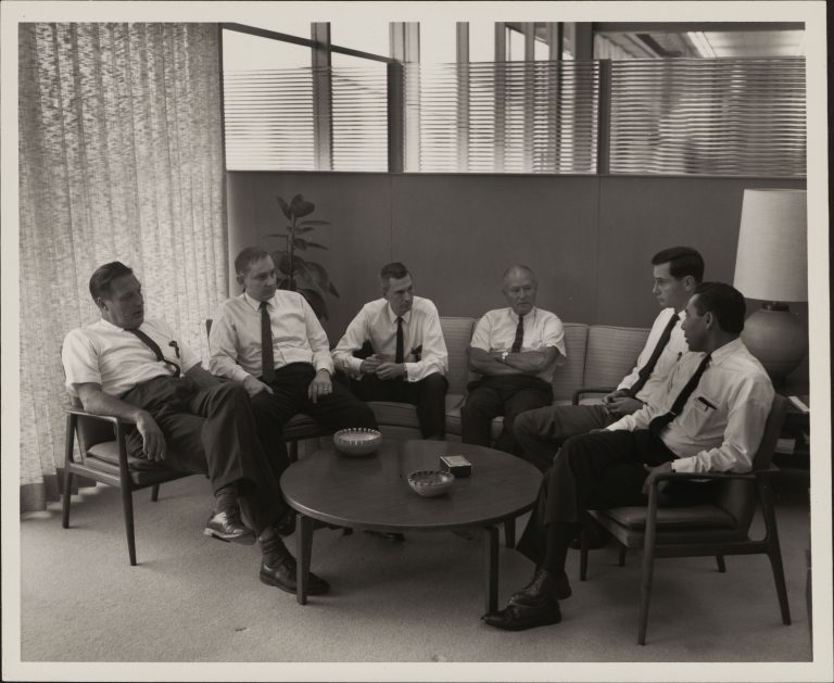 From Left to Right: Barney Oliver, Don Hammond, Paul Stoft, John Cage, Tom Perkins and John Atalla.