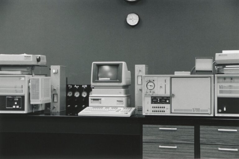 Photo of an anti-pollution instrument setup, including gas chromatograph.