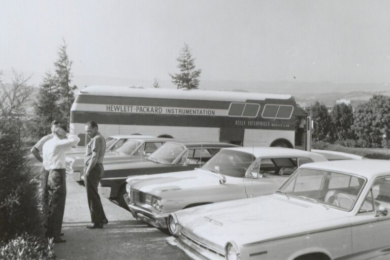 A photo of the Neely Mobile Lab preparing to go on tour to give product demonstrations in 1964.