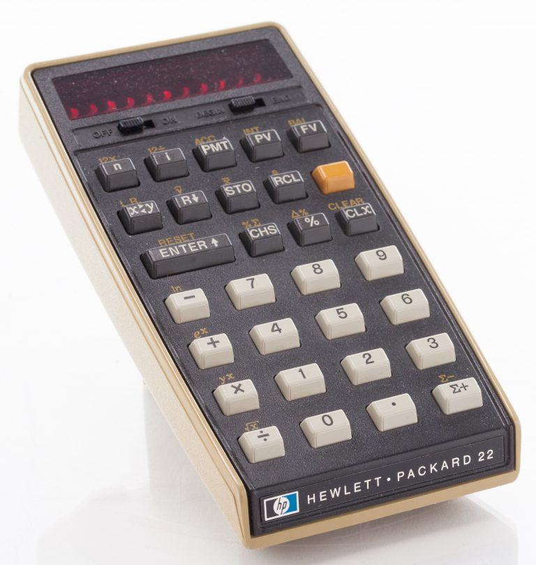 A photo of the HP 22 calculator featuring the small logo on the bottom left of the device.