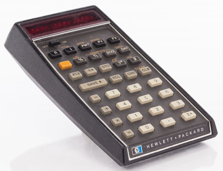 Photo of the HP 80 calculator designed for business people with 40 time-and-money formulas preset.
