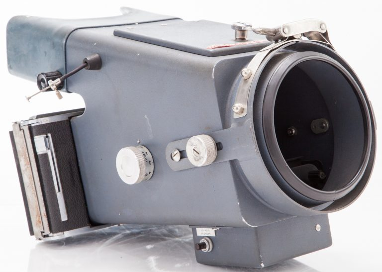 Photo of the HP 196B oscilloscope camera used to photograph blips on the oscilloscope that passed too quickly to see.