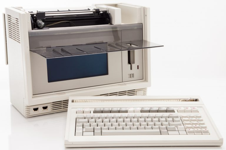The HP 9807A Integral PC with a built-in printer, disk drive and separate keyboard.