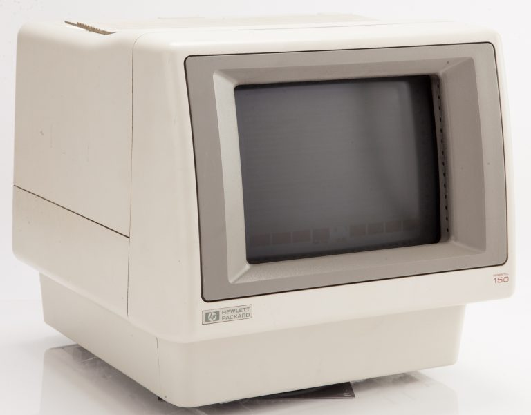 Monitor for the HP 150 Desktop with infrared sensors visible along the right edge of the screen.