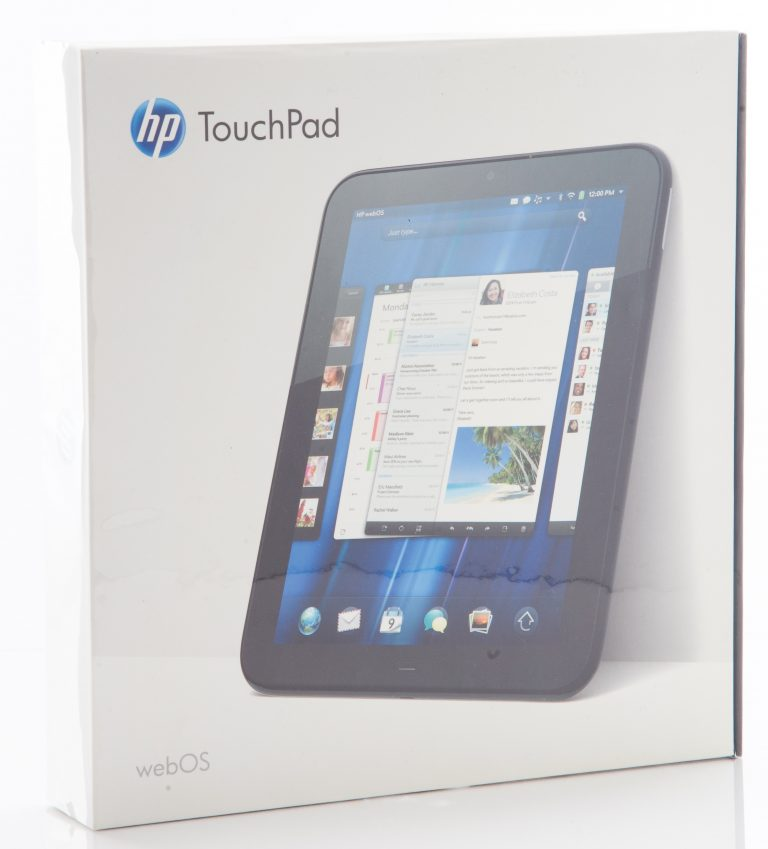 Photo of the box for the Hewlett-Packard TouchPad taken in 2011.
