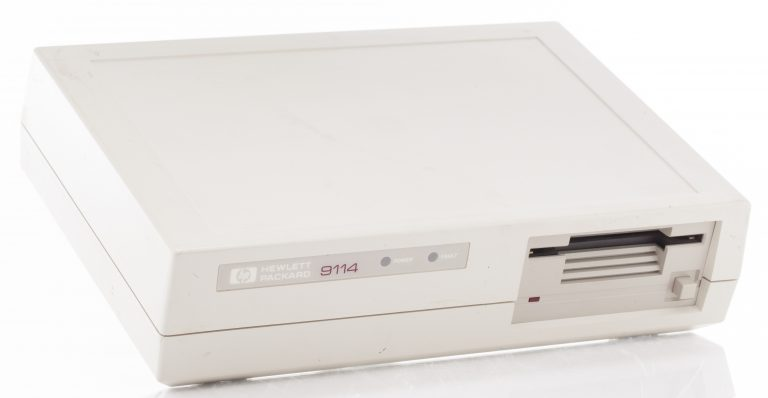 Photo of the HP 9114 portable floppy disk drive.
